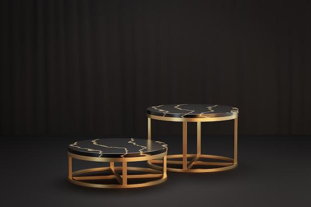 Support de produit d'affichage cosmétique, podium de cylindre d'or noir de marbre avec le support en métal d'or sur le fond noir. illustration de rendu 3d