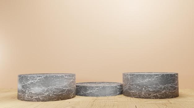 Support de produit d'affichage en marbre noir de rendu d'arrière-plan 3d ou piédestal de podium sur un affichage sombre