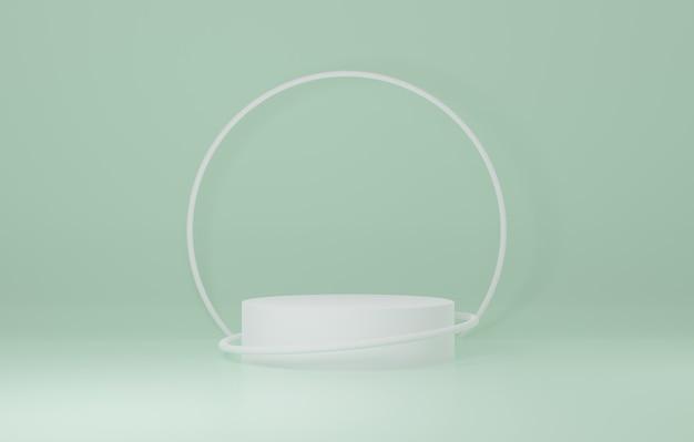 Support de produit de cylindre blanc dans la pièce verte, scène de studio pour le produit, conception minimale, rendu 3d