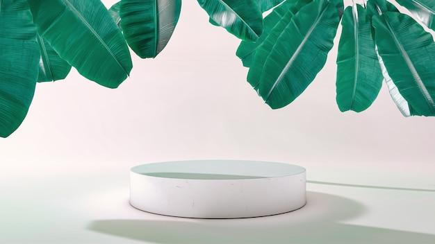 Support de produit cylindrique avec feuilles qui tombent. illustration 3d. vue de face. support de cylindre en marbre isolé sur fond. scène minimale abstraite