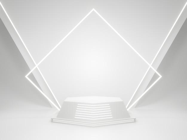 Support de produit géométrique blanc avec néons. rendu 3d.