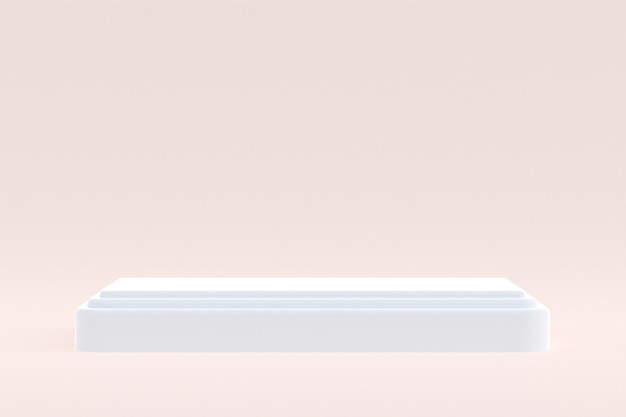 Support de produit, podium minimal sur fond crème pour la présentation de produits cosmétiques.