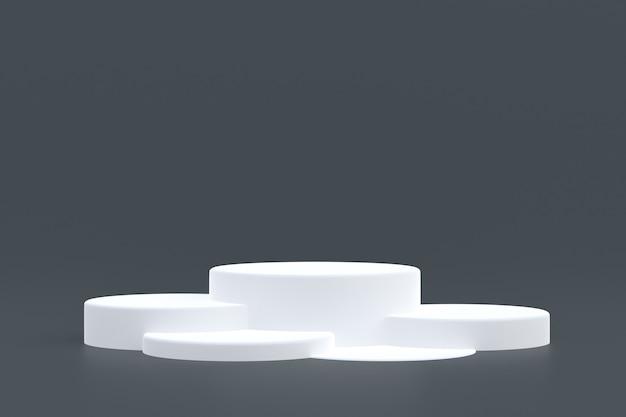 Support de produit, podium minimal sur fond gris pour la présentation de produits cosmétiques.