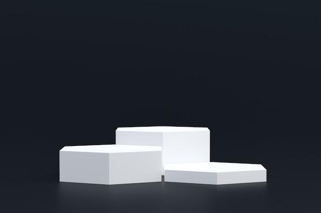 Support de produit, podium minimal sur fond noir pour la présentation de produits cosmétiques.