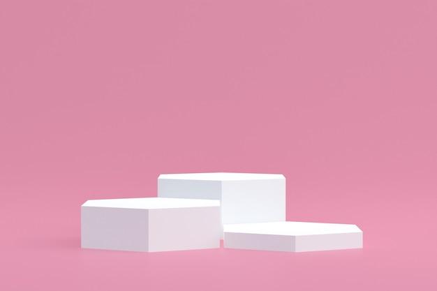 Support de produit, podium minimal sur fond rose pour la présentation de produits cosmétiques.