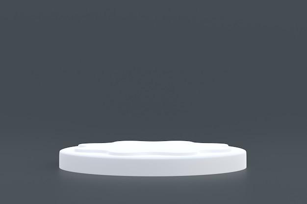 Support produit, podium minimal sur gris pour la présentation des produits cosmétiques.