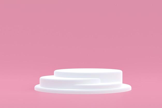 Support produit, podium minimal sur rose pour la présentation des produits cosmétiques.