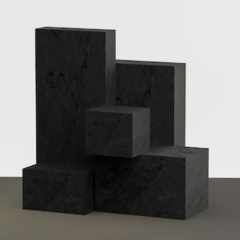Support de produit de rendu 3d à partir de blocs avec texture de pierre
