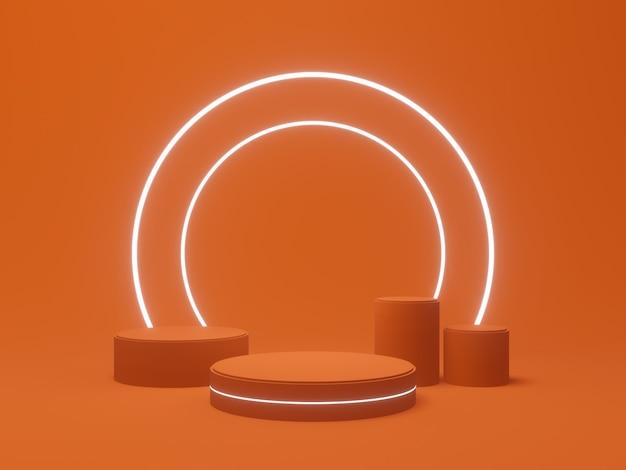 Support de produit rendu 3d. podium orange avec néons blancs.
