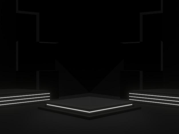 Support scientifique noir rendu 3d avec néons blancs