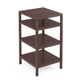 Support de stockage de rack en bois vide sur un fond blanc. rendu 3d