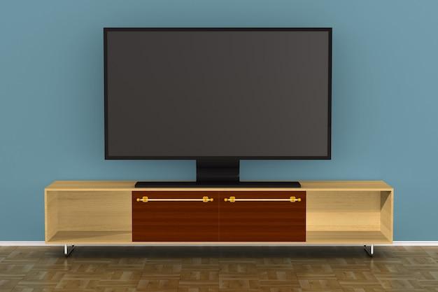 Support de télévision dans le salon. illustration 3d