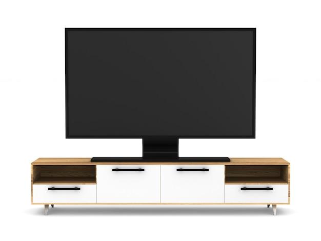 Support de télévision sur fond blanc. illustration 3d isolée