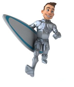 Surf de chevalier de dessin animé 3d amusant