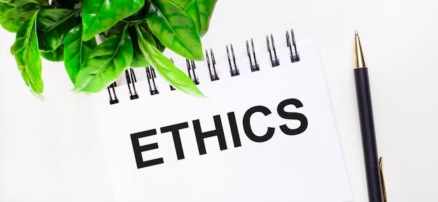 Sur une surface blanche une plante verte, un cahier blanc avec l'inscription ethics et un stylo