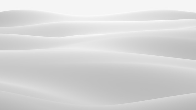 Surface blanche avec des reflets. fond d'ondes lumineuses minimales lisses. vagues de soie floues. un minimum d'ondulations en niveaux de gris doux circulent. illustration de rendu 3d.