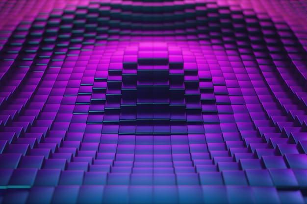 Surface cubique ultraviolette abstraite en mouvement