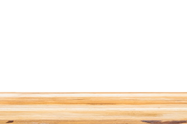 Surface de dessus de table en bois isolée sur blanc pour l'affichage du produit de montage
