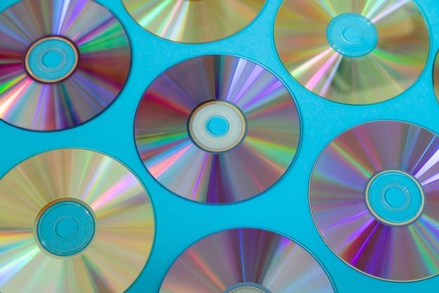 Surface de disque cd ou dvd vintage, vieux disques circulaires utilisés pour le stockage de données.