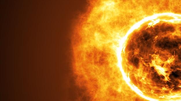 Surface du soleil avec des éruptions solaires. abstrait scientifique
