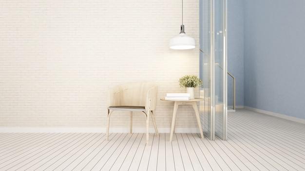 Surface habitable dans un café ou un appartement - rendu 3d