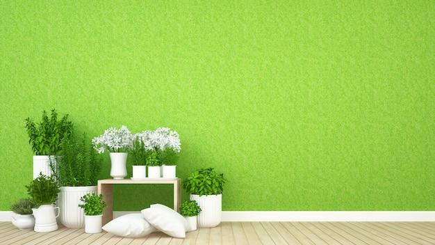 Surface habitable et jardin intérieur dans un café - rendu 3d