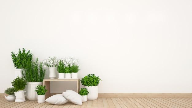 Surface habitable et jardin intérieur de la maison ou du café - rendu 3d