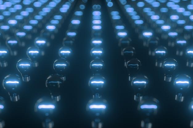 Surface infinie d'ampoules à incandescence clignotantes