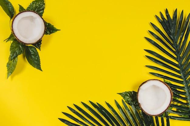 Surface jaune avec noix de coco et feuilles de palmier
