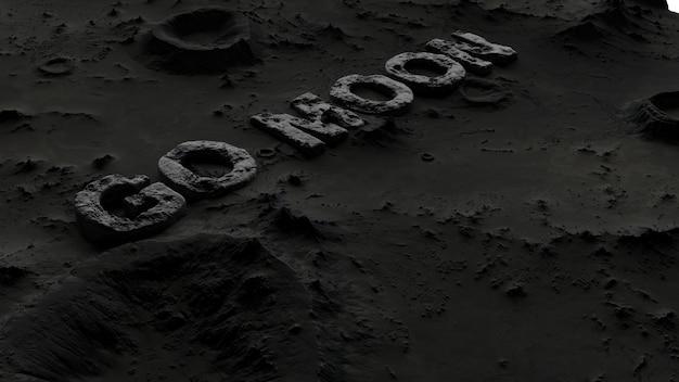 La surface de la lune dans les cratères avec l'inscription
