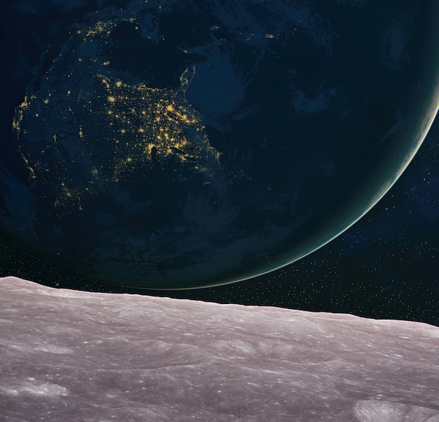 Surface de la lune et terre à l'horizon. fantaisie de l'art de l'espace.