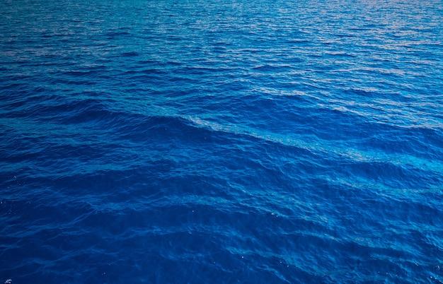 Surface de la mer bleue avec des vagues, concept de voyage de vacances. fond d'eau avec des ondulations pacifiques bleues à utiliser comme texture ou arrière-plan.