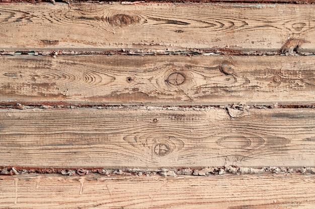 La surface d'un mur en bois peint de couleur marron. texture du bois ancien.