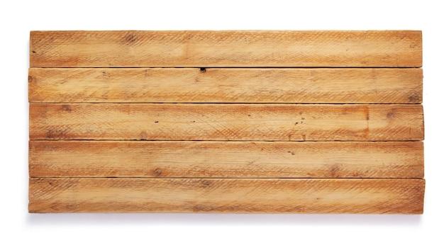 Surface de planche de bois vieilli isolé sur fond blanc
