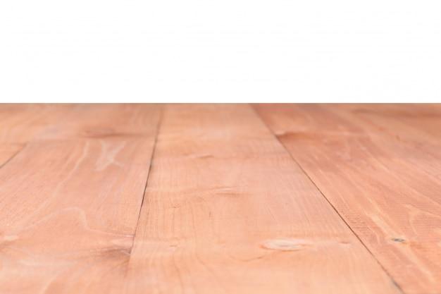 La surface de la table en bois marron