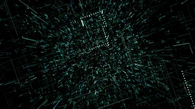 La surface de la technologie avec des lignes de chaos et de grille est une image informatique abstraite avec des aberrations chromatiques. art numérique: un arrière-plan technique, de science-fiction ou de science-fiction sombre. illustration 3d