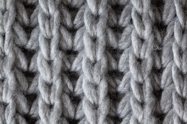Surface texturée en laine tricotée, macro.