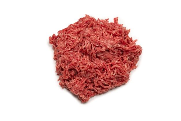 Surface de viande hachée de boeuf cru. vue de dessus.