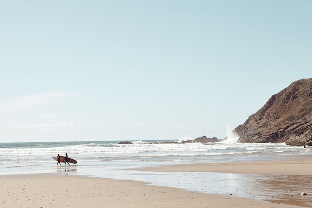 Surfeurs au loin sur la plage rocheuse