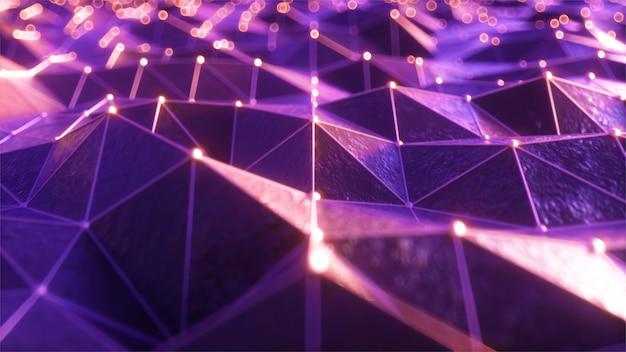Survoler le paysage d'une zone en relief dans un style rétro futuriste avec une grille néon et des sphères lumineuses