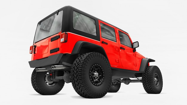 Suv à l'écoute rouge puissant pour les expéditions en montagne, dans les marécages, dans le désert et sur tout terrain accidenté. grandes roues, suspension de levage pour obstacles raides. rendu 3d.