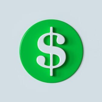 Symbole de l'argent du dollar rendu 3d de l'icône du dollar