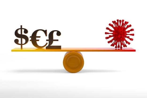 Symbole de l'argent en or et virus corona rouge sur une balançoire. rendu 3d