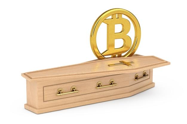 Symbole bitcoin cryptocurrencies d'or dans un cercueil en bois avec croix dorée et poignées sur fond blanc. rendu 3d