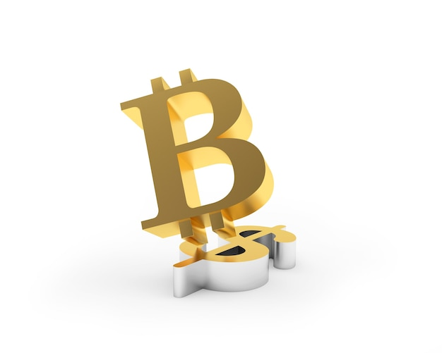 Symbole de bitcoin doré sur signe dollar