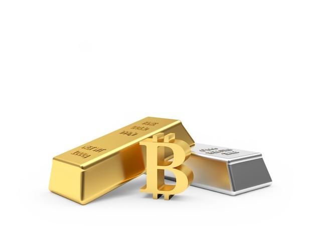 Symbole bitcoin avec des lingots d'or et d'argent