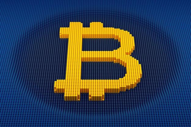 Symbole bitcoin pixélisé fabriqué à partir de cubes, motif en mosaïque. rendu 3d
