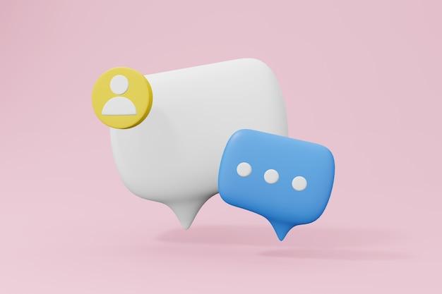 Symbole de bulle de chat rendu 3d illustration de symbole de communication avec espace de copie ballon de discours pour mes