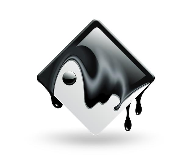 Symbole carré abstrait yin yang sur fond blanc