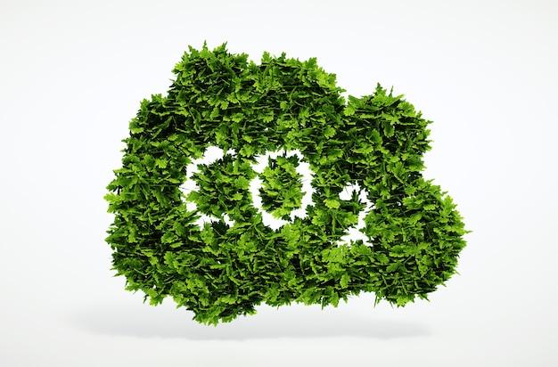 Symbole de co2 naturel de rendu 3d isolé avec fond blanc